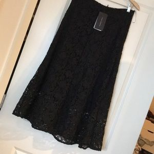 Zara Woman black lace midi skirt